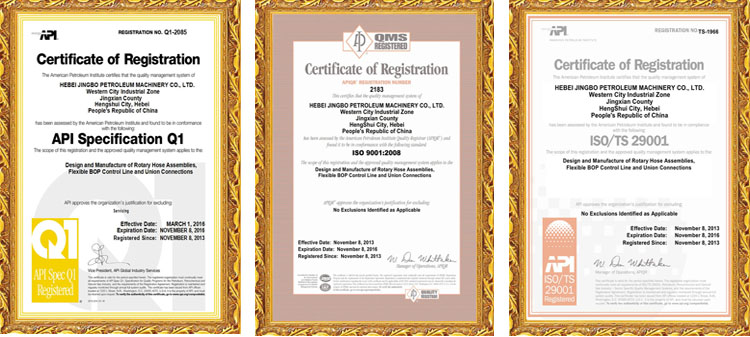 Certificates in the oilfield hoses area